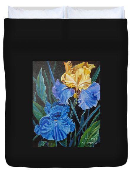 Duvet Cover featuring the painting Two Fancy Iris by Jenny Lee