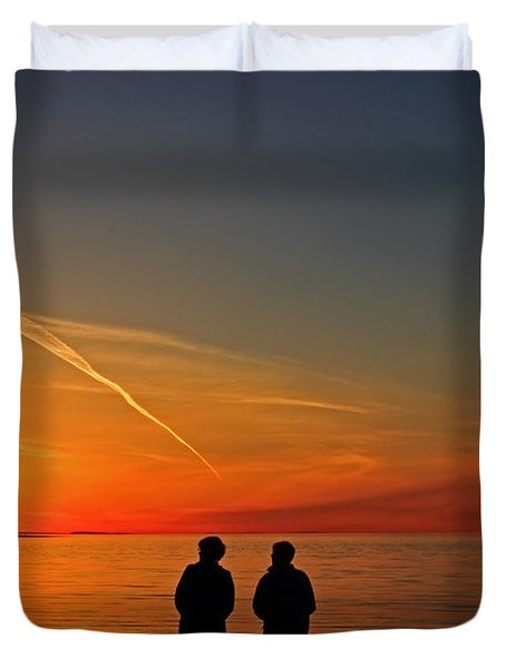 Two Friends Enjoying A Sunset Duvet Cover