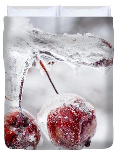 Two Frozen Crab Apples  Duvet Cover