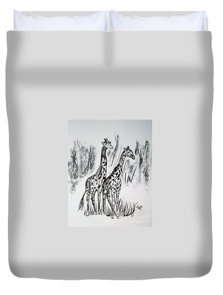 Duvet Cover featuring the drawing Two Giraffe's In Graphite by Janice Rae Pariza
