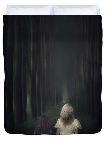Two Girls In A Forest Duvet Cover by Joana Kruse