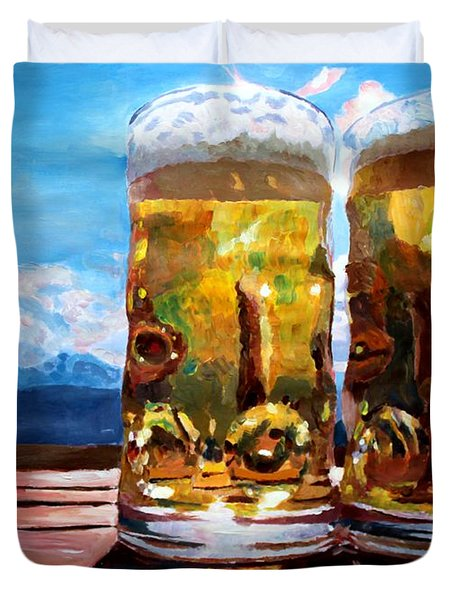 Two Glasses Of Beer With Mountains Duvet Cover by M Bleichner