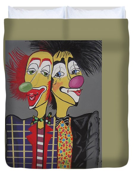 Duvet Cover featuring the painting Two Heads Are Better Then One by Nora Shepley