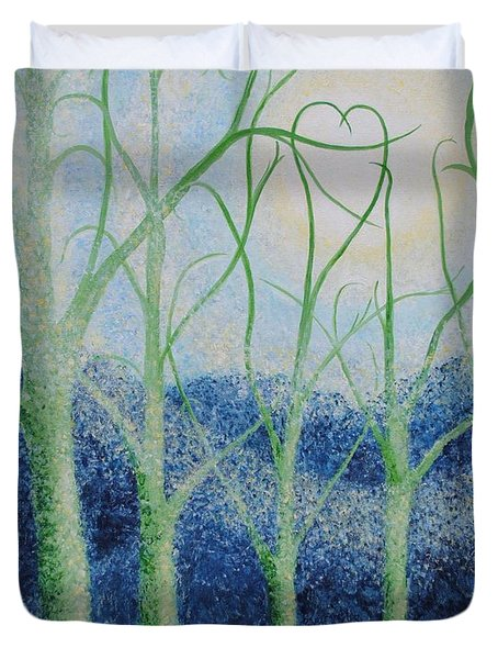 Duvet Cover featuring the painting Two Hearts by Holly Carmichael