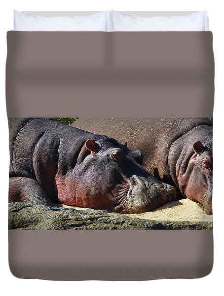 Two Hippos Sleeping On Riverbank Duvet Cover