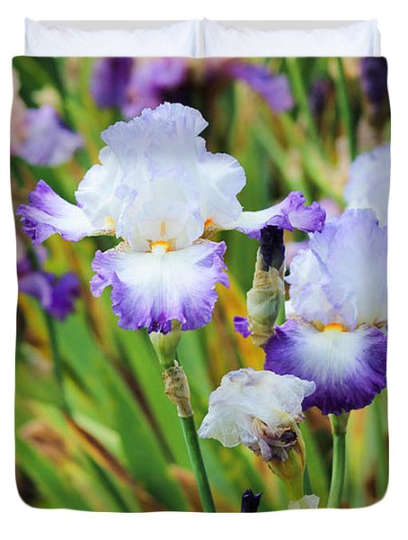 Duvet Cover featuring the photograph Two Iris by Patricia Babbitt