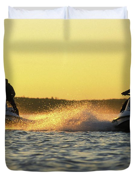 Two Jet Skis In Open Water At Sunset Duvet Cover