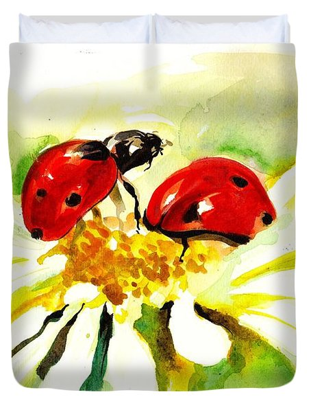 Two Ladybugs In Daisy After My Original Watercolor Duvet Cover by Tiberiu Soos