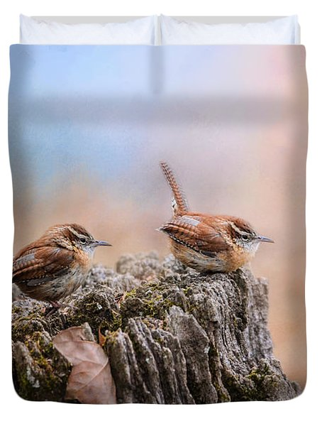 Two Little Wrens Duvet Cover by Jai Johnson