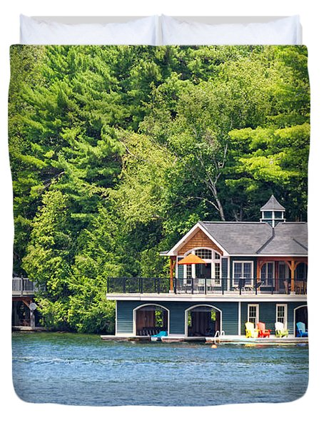 Two Luxury Boathouses Duvet Cover