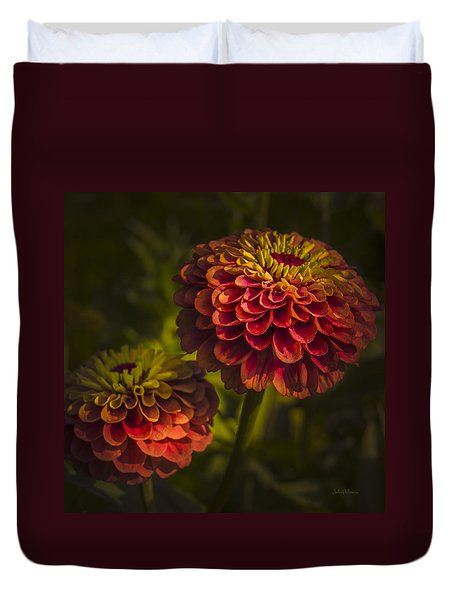 Two Magellan Zinnias Duvet Cover