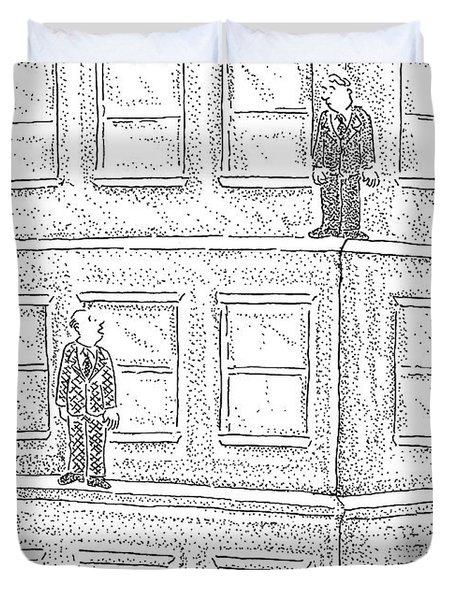 Two Men On Different Ledges Of A Building Duvet Cover