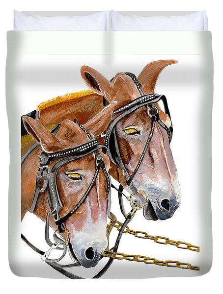 Two Mules - Enhanced Color - Farmer's Friend Duvet Cover