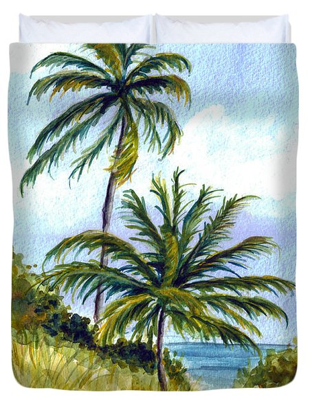 Two Palms Duvet Cover by Clara Sue Beym