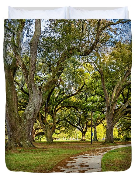 Two Paths Diverged In A Live Oak Wood...  Duvet Cover by Steve Harrington