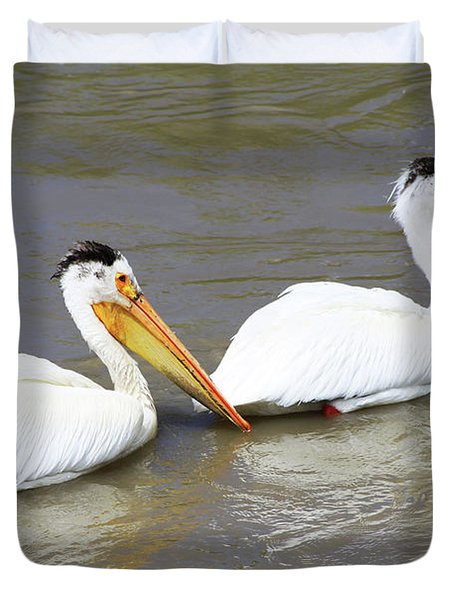 Duvet Cover featuring the photograph Two Pelicans by Alyce Taylor