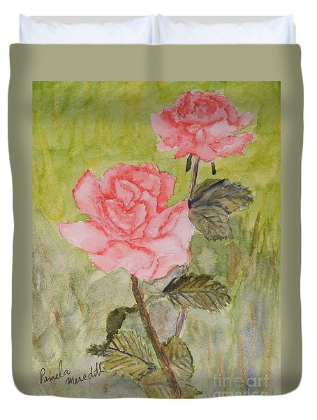 Two Pink Roses Duvet Cover