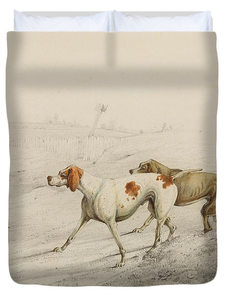 Two Pointers Duvet Cover by Henry Thomas Alken