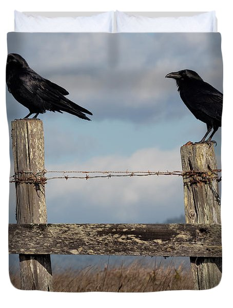 Two Ravens On A Fence Duvet Cover