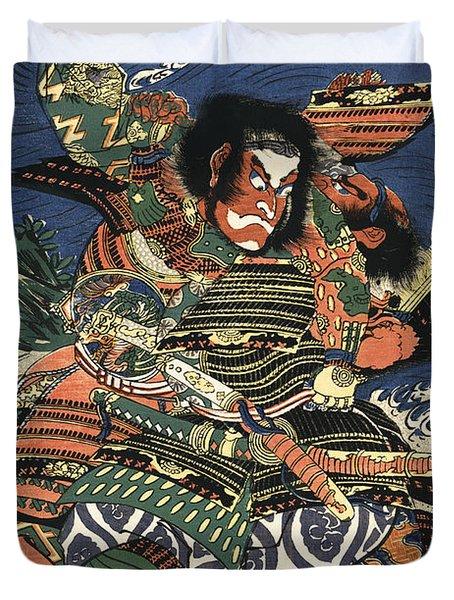 Two Samurai Fighting C. 1819 Duvet Cover