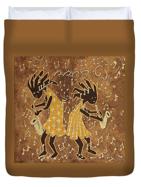 Two Sax Players Duvet Cover by Katherine Young-Beck