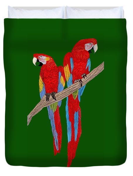 Two Scarlet Macaw Duvet Cover