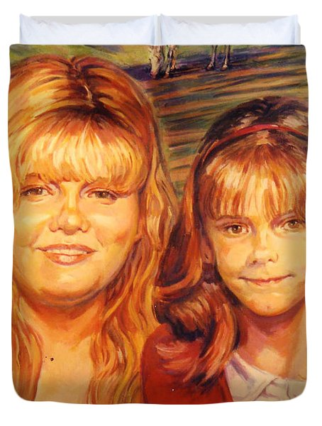 Duvet Cover featuring the painting Two Sisters by Stan Esson