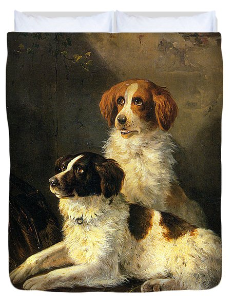 Two Spaniels Waiting For The Hunt Duvet Cover by Henriette Ronner Knip