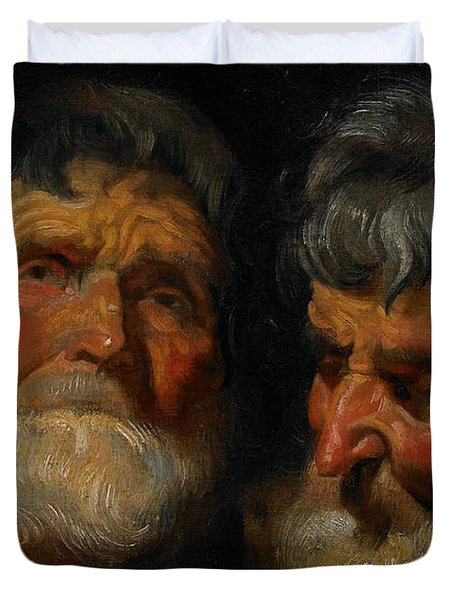 Two Studies Of The Head Of An Old Man Duvet Cover by Jacob Jordaens