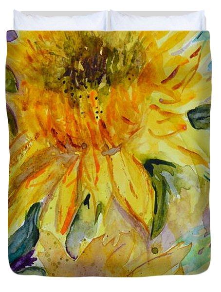 Two Sunflowers Duvet Cover by Beverley Harper Tinsley