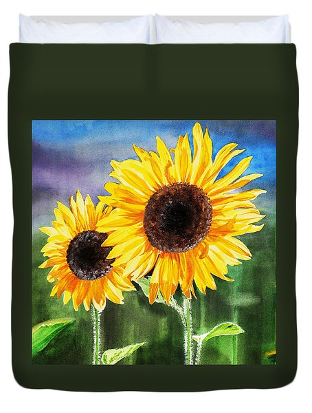 Two Sunflowers Duvet Cover
