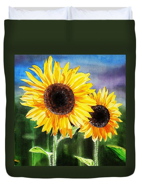Two Suns Sunflowers Duvet Cover