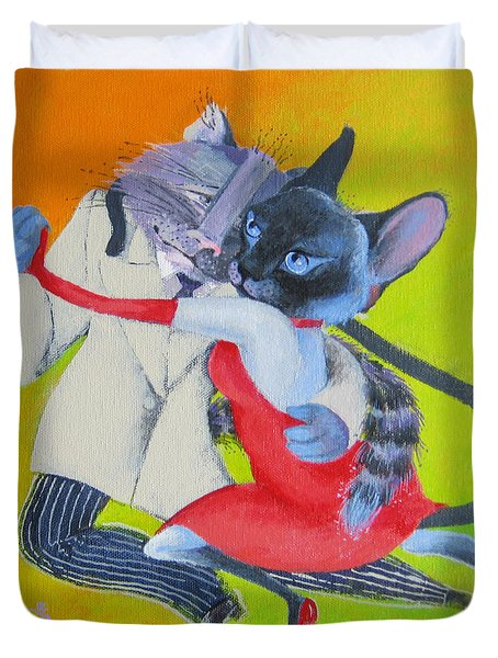 Duvet Cover featuring the painting Two To Cats' Tango by Marina Gnetetsky