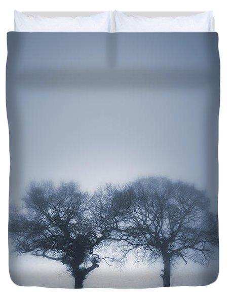 Two Trees In Blue Fog Duvet Cover by Lee Avison
