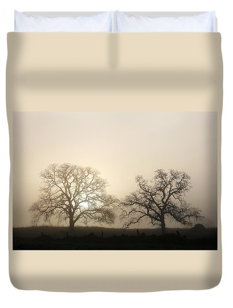 Two Trees In Fog Duvet Cover