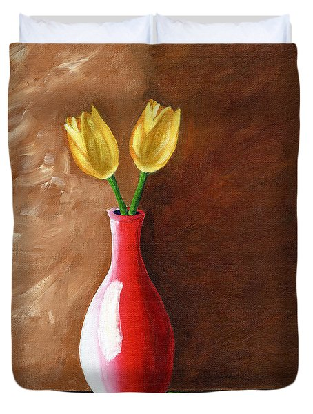 Two Tulips And A Pink Rose Duvet Cover by Laura Forde