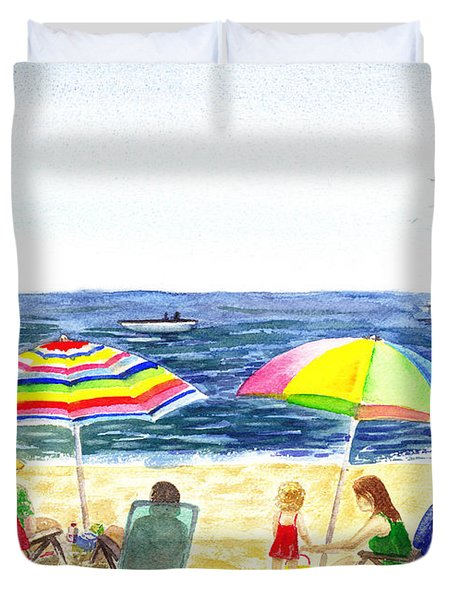 Two Umbrellas On The Beach California  Duvet Cover