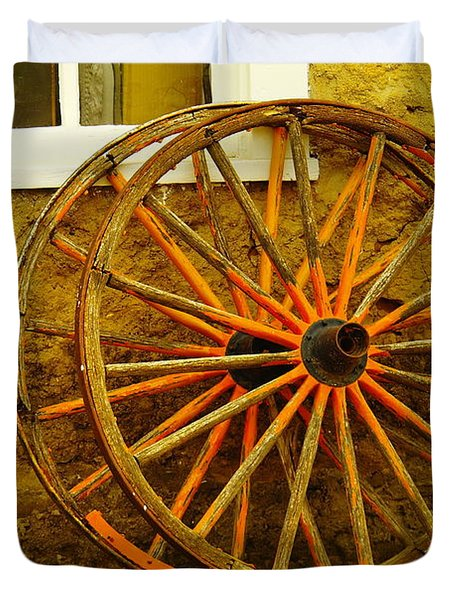 Two Wagon Wheels Duvet Cover by Jeff Swan