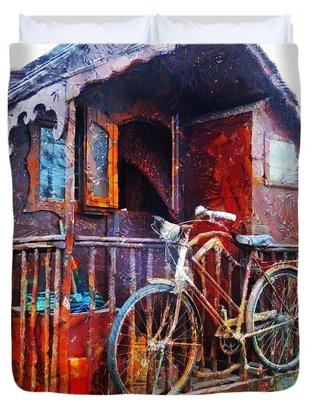 Two Wheels On My Wagon Duvet Cover by Steve Taylor