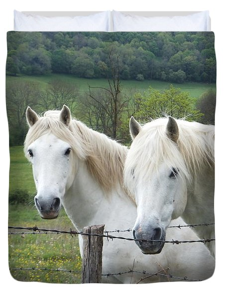 Duvet Cover featuring the photograph Two White Horses by Marc Philippe Joly