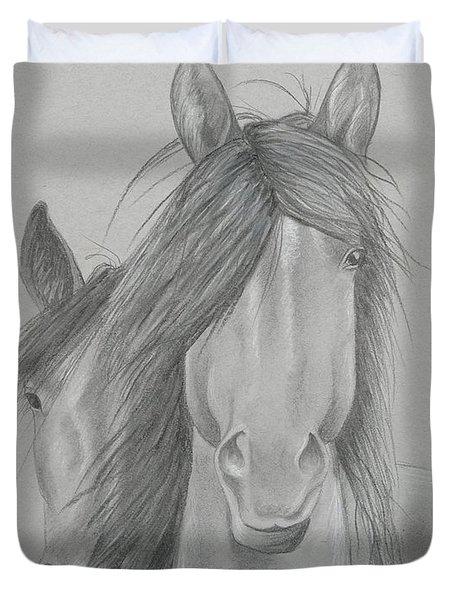 Two Wild Horses Duvet Cover