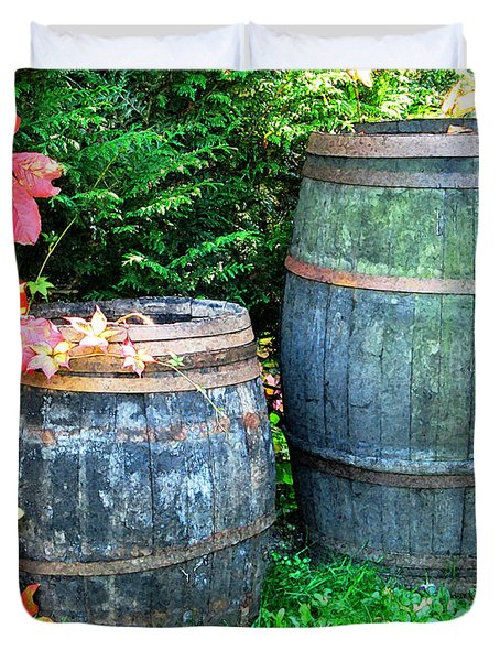Two Wine Barrels And Red Ivy Digital Print Duvet Cover by Greg Matchick