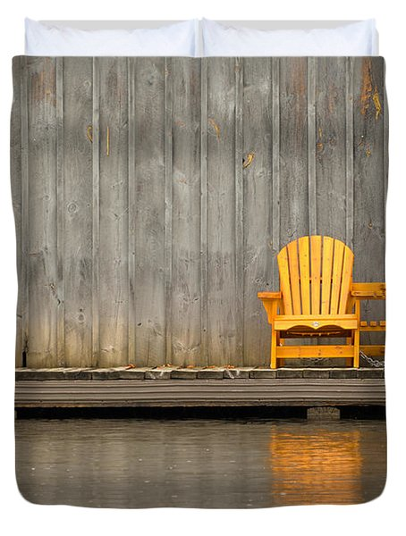 Two Wooden Chairs On An Old Dock Duvet Cover