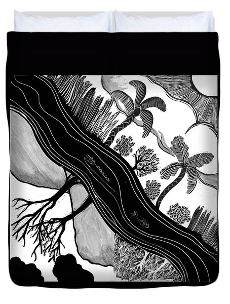 Duvet Cover featuring the drawing Two Worlds by Aurora Levins Morales