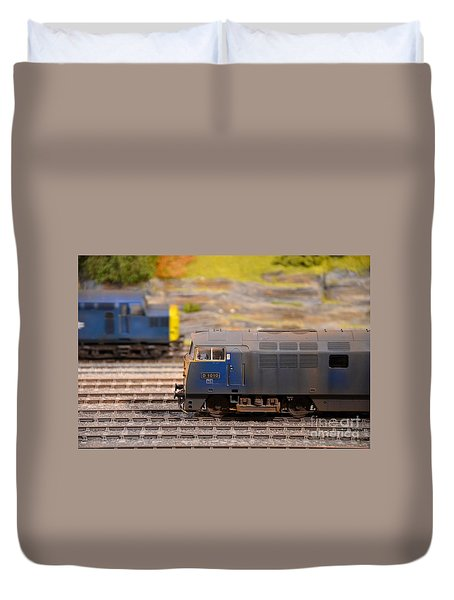 Duvet Cover featuring the photograph Two Yellow Blue British Rail Model Railway Train Engines by Imran Ahmed