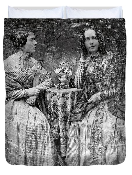 Two Young Antebellum Ladies Almost Lost To Time Duvet Cover by Daniel Hagerman