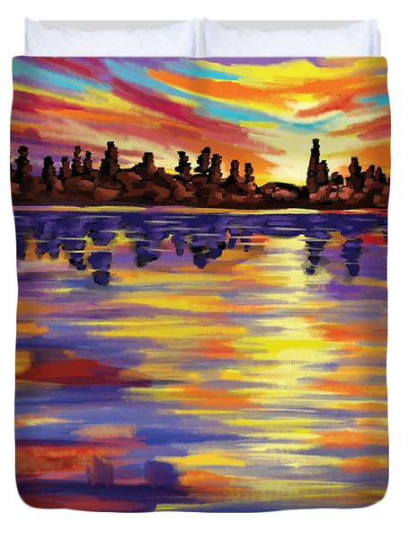 Duvet Cover featuring the painting Tyler's Sunrise by Tim Gilliland