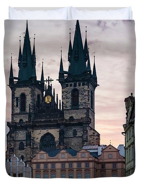 Tyn Cathedral On Old Town Square Duvet Cover