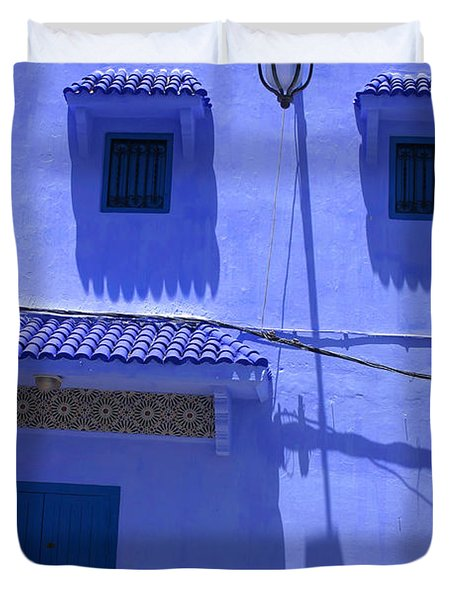 Duvet Cover featuring the photograph Typical Blue Facade In The Medina Of Asilah On Northwest Tip Of Atlantic Coast Of Morocco by Ralph A  Ledergerber-Photography