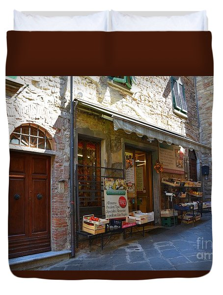 Duvet Cover featuring the photograph Typical Small Shop In Tuscany by Ramona Matei